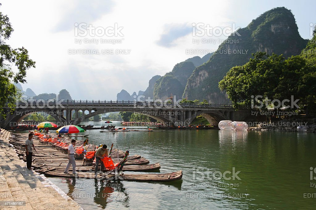 Bamboo Rafts in Yangshuo royalty-free stock photo