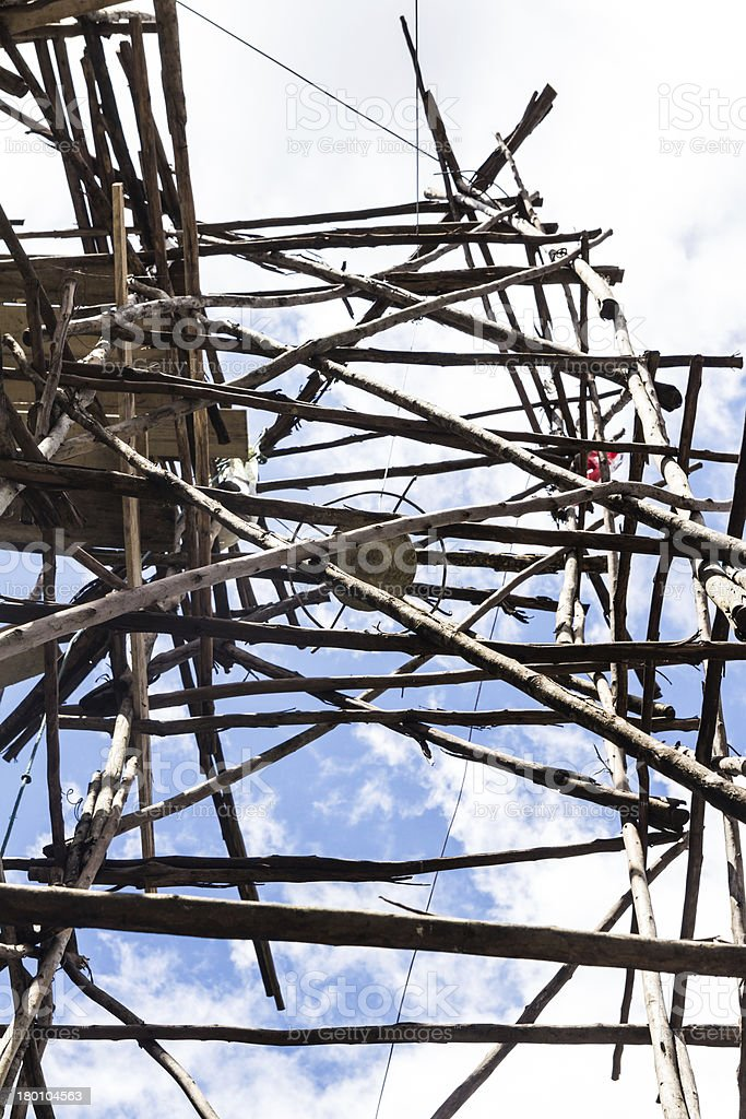 Bamboo scaffolding for reconstruction Pagoda in the temple of Th royalty-free stock photo