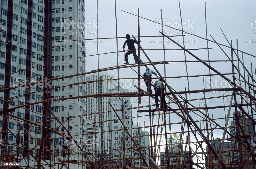 Bamboo scaffolding, Hong Kong stock photo