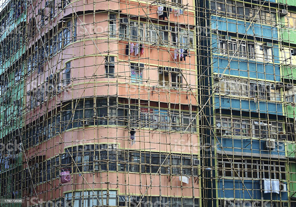 bamboo scaffolding of repair old building stock photo