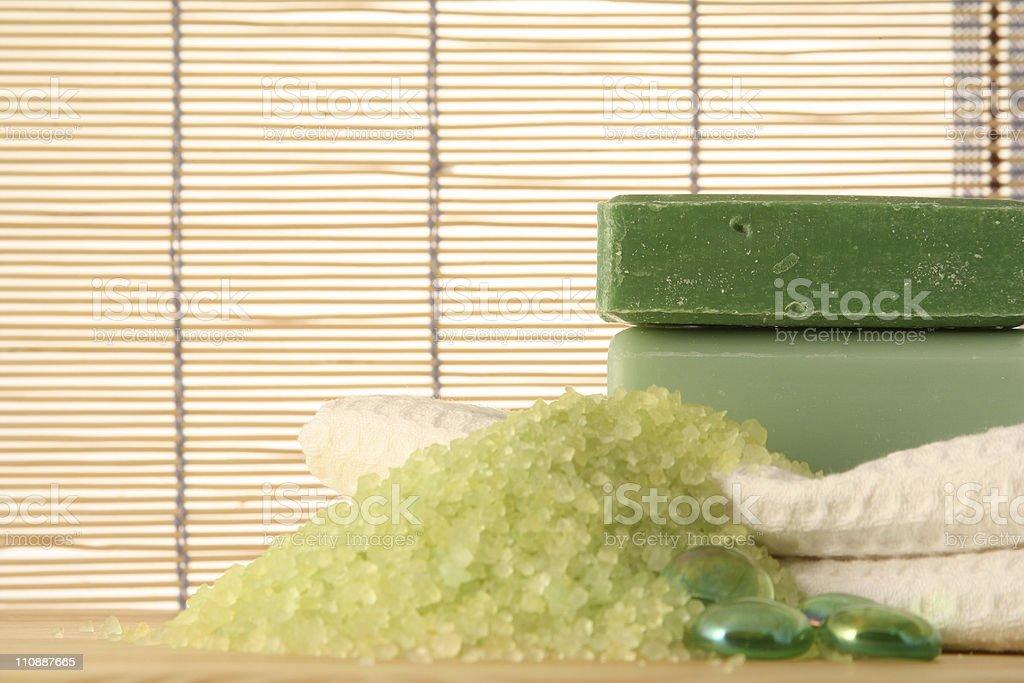 Bamboo Spa - soap & bath salt royalty-free stock photo
