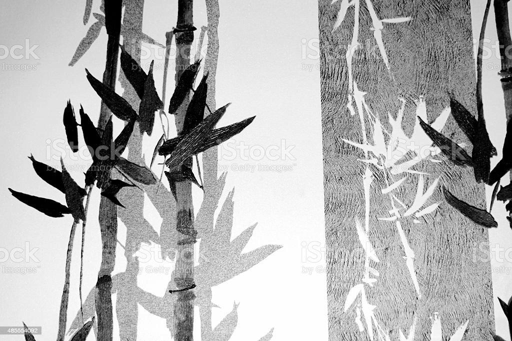 대나무 stalks 및 블랙스 헤엄치는 실루엣 royalty-free 스톡 사진