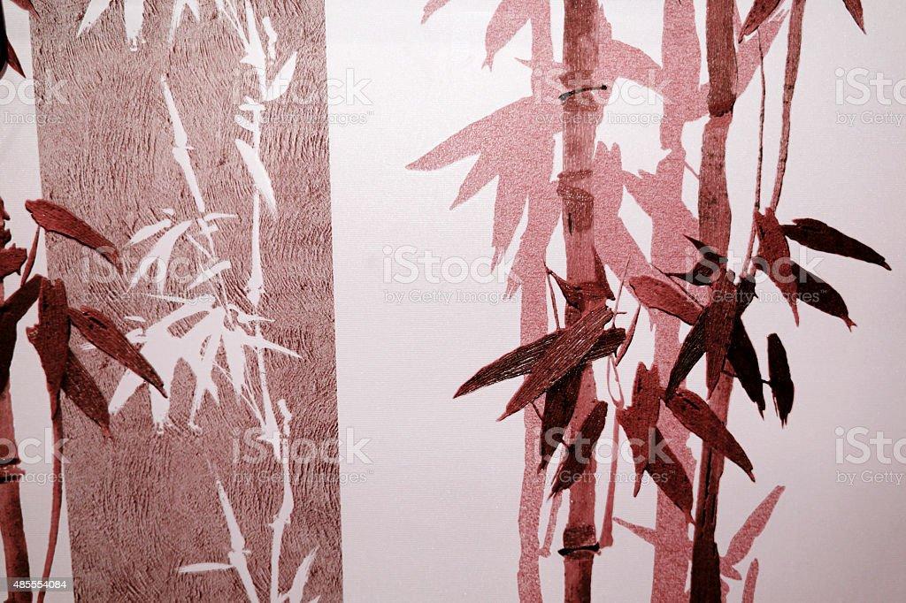 대나무 stalks 및 레드 헤엄치는 실루엣 royalty-free 스톡 사진