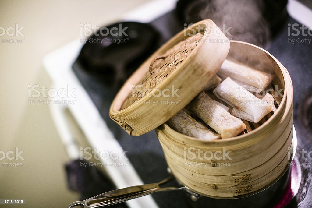 Bamboo Steamer with Tamales stock photo