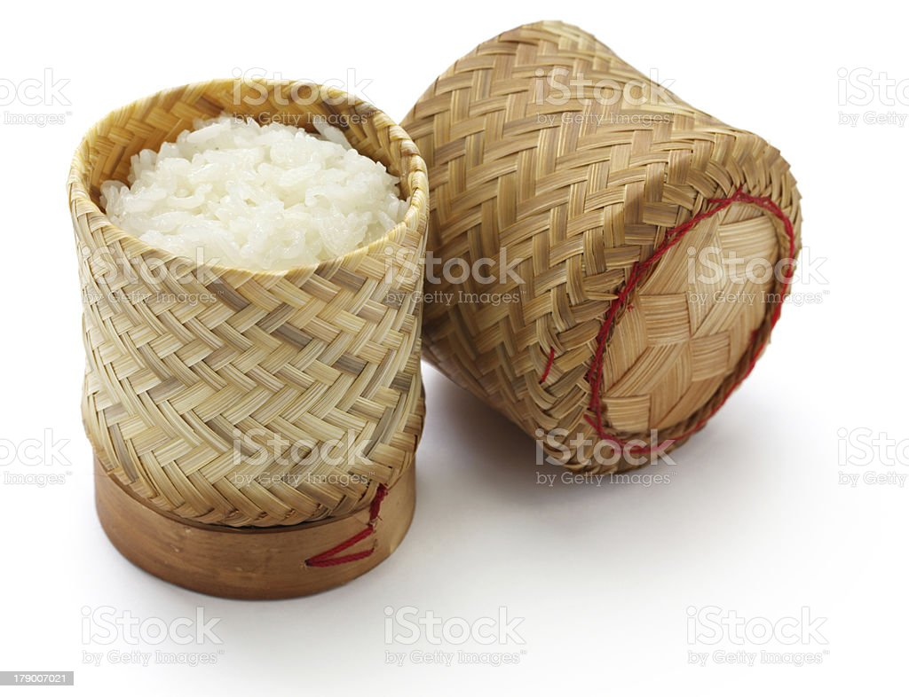 bamboo sticky rice container stock photo