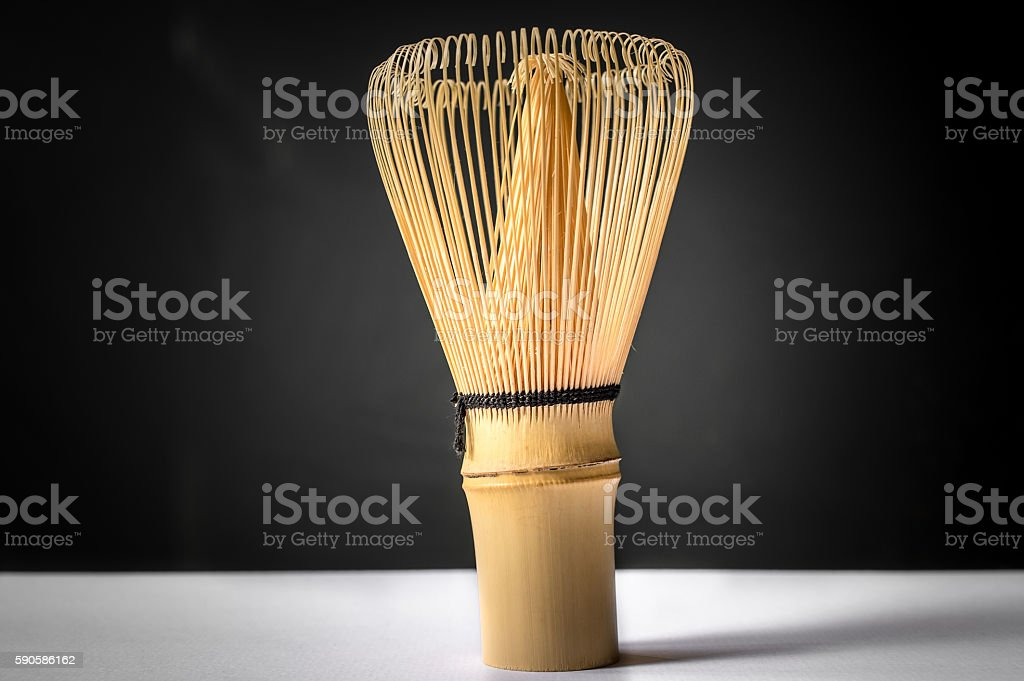 Bamboo tea whisk for matcha stock photo
