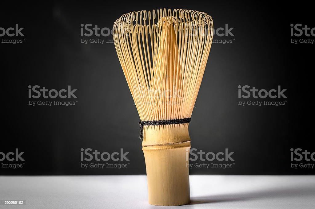 Bamboo tea whisk for matcha stock photo