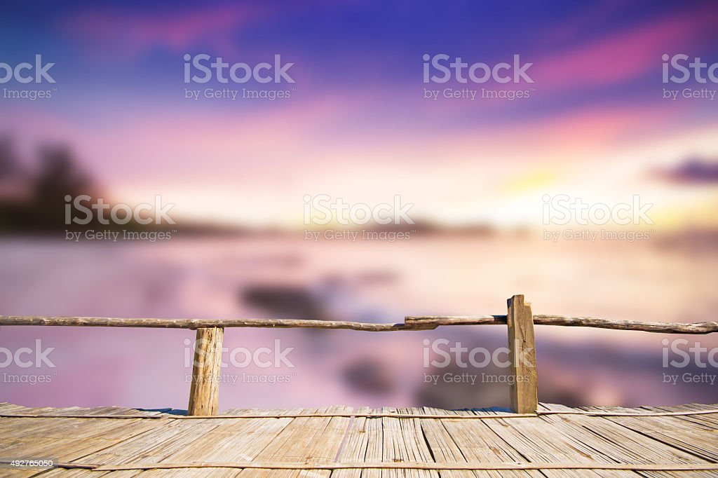 Bamboo terrace with view of sunset stock photo