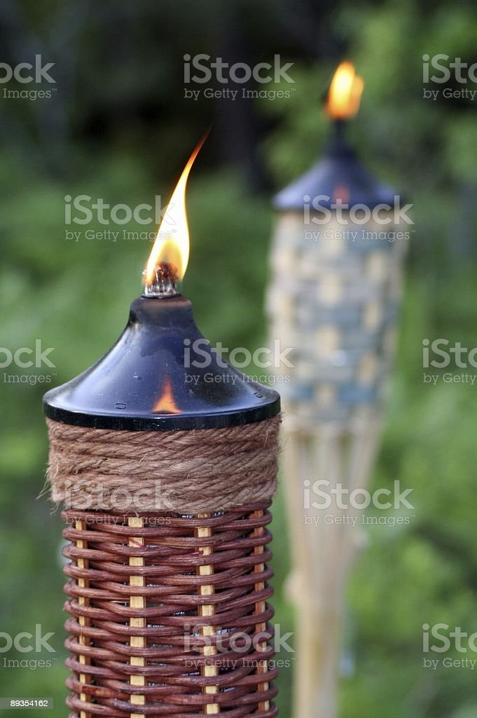 Bamboo Torch Lights With Fire stock photo