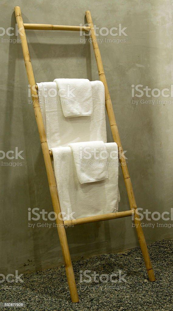 Bamboo towel rack in Siem Reap, Cambodia stock photo