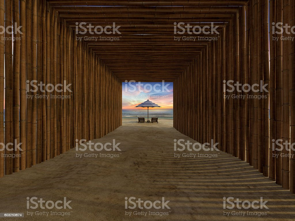 bamboo tunnel cover walkway to the beach stock photo