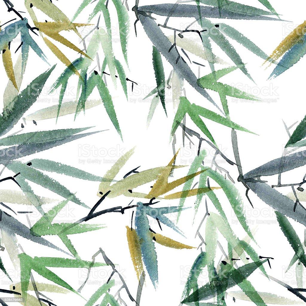 Bamboo watercolor illustration stock photo