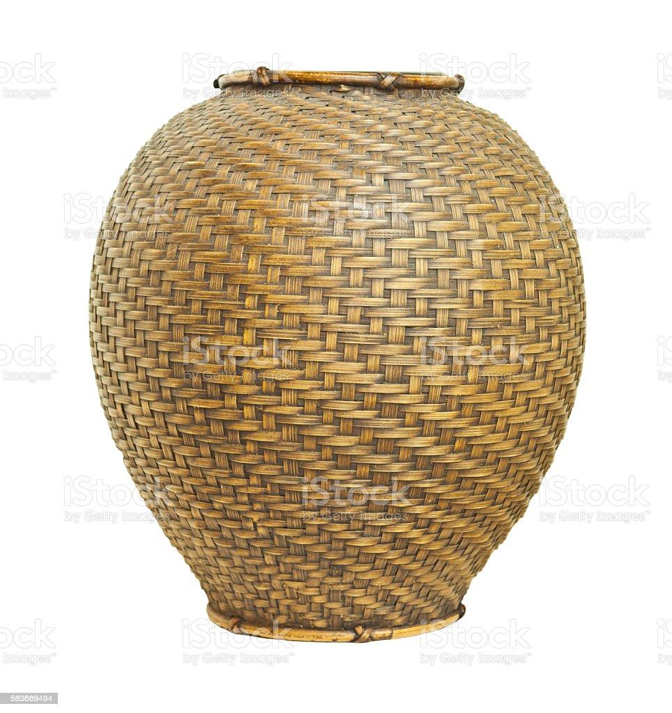 Bamboo weaved pot stock photo