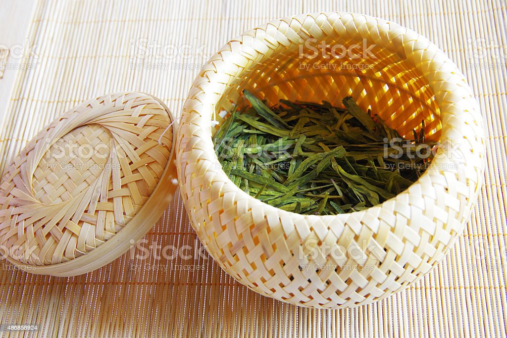 Bamboo weaving tea sets and tea stock photo