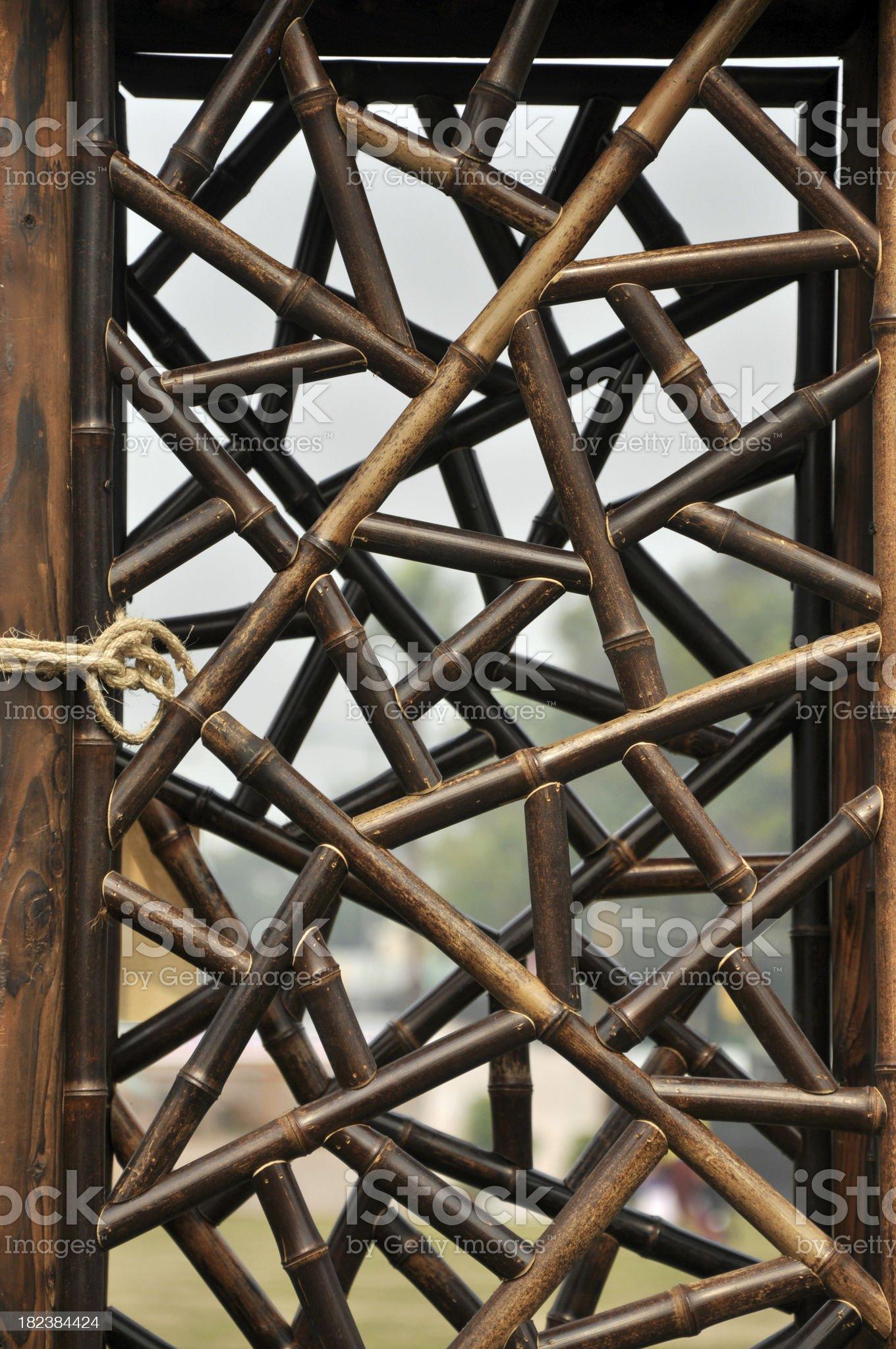 Bamboo Window Frame (Chinese / Japanese Style) royalty-free stock photo