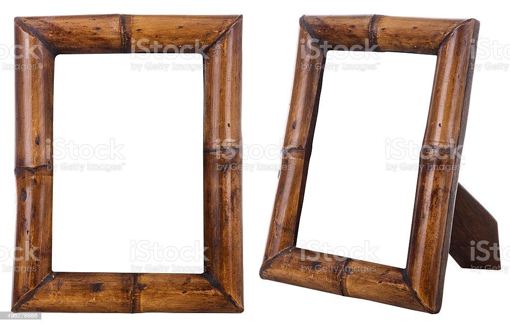 Bamboo wood photo frame isolated. stock photo