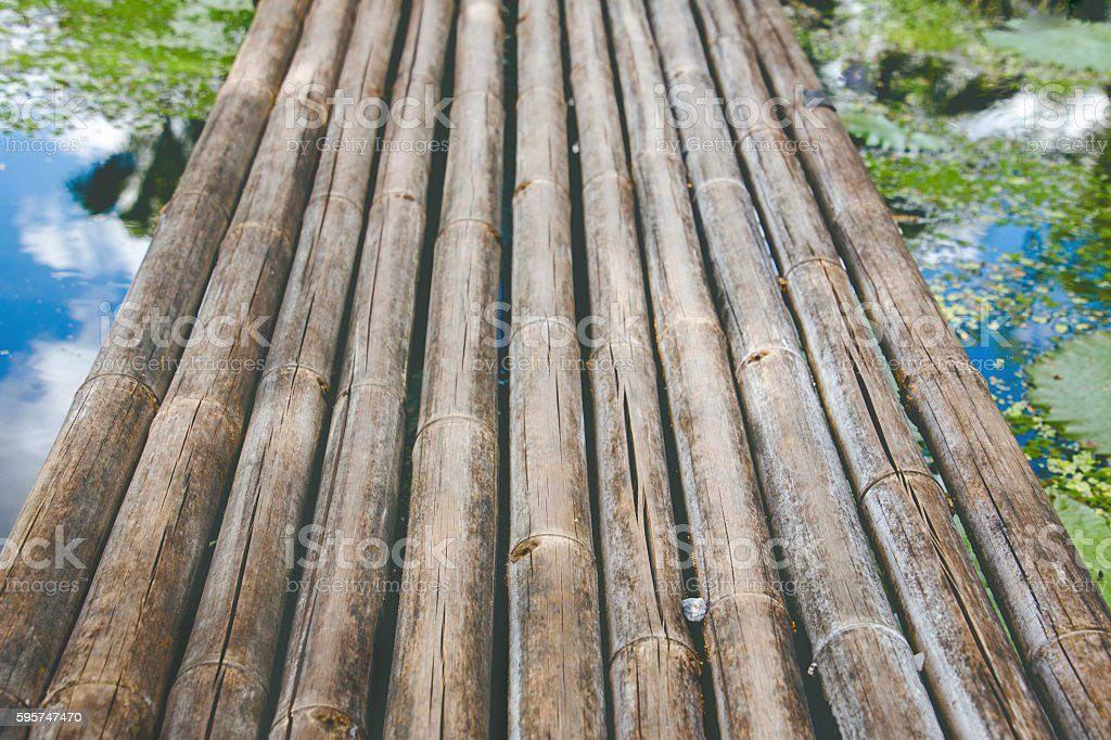 Bamboo Wooden Bridge in Water Lily Swamp stock photo