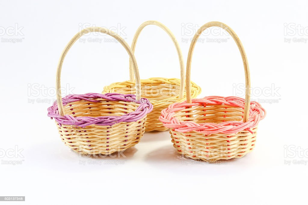 bamboo woven basket stock photo