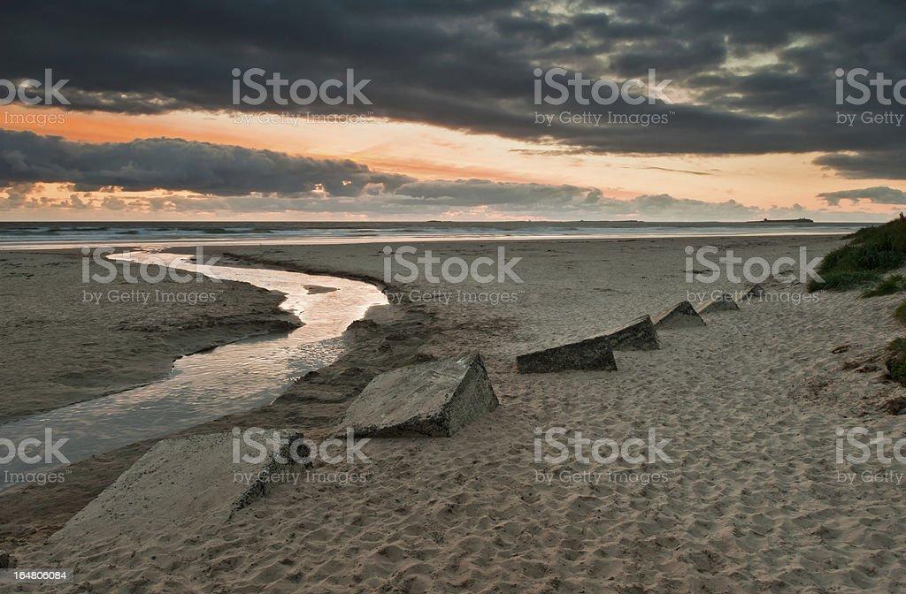 Bamburgh Beach at sunset royalty-free stock photo