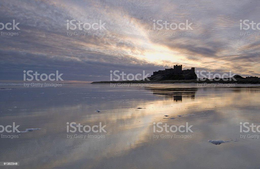 Bamburgh Castle and Coast royalty-free stock photo