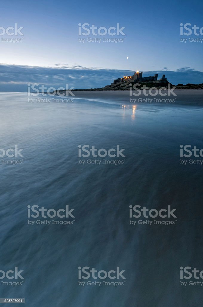 Bamburgh Castle Beach stock photo