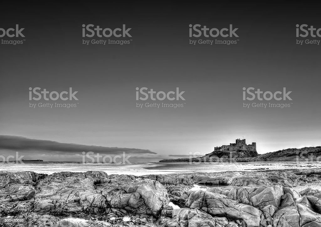 Bamburgh castle black & white stock photo