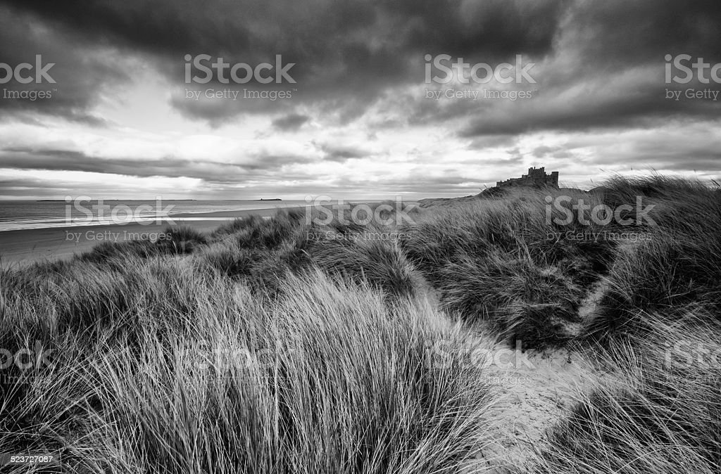 Bamburgh Castle B&W stock photo
