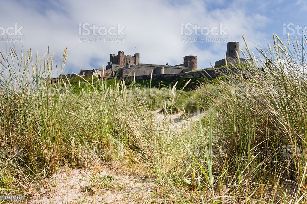 Bamburgh Castle from the Dunes royalty-free stock photo