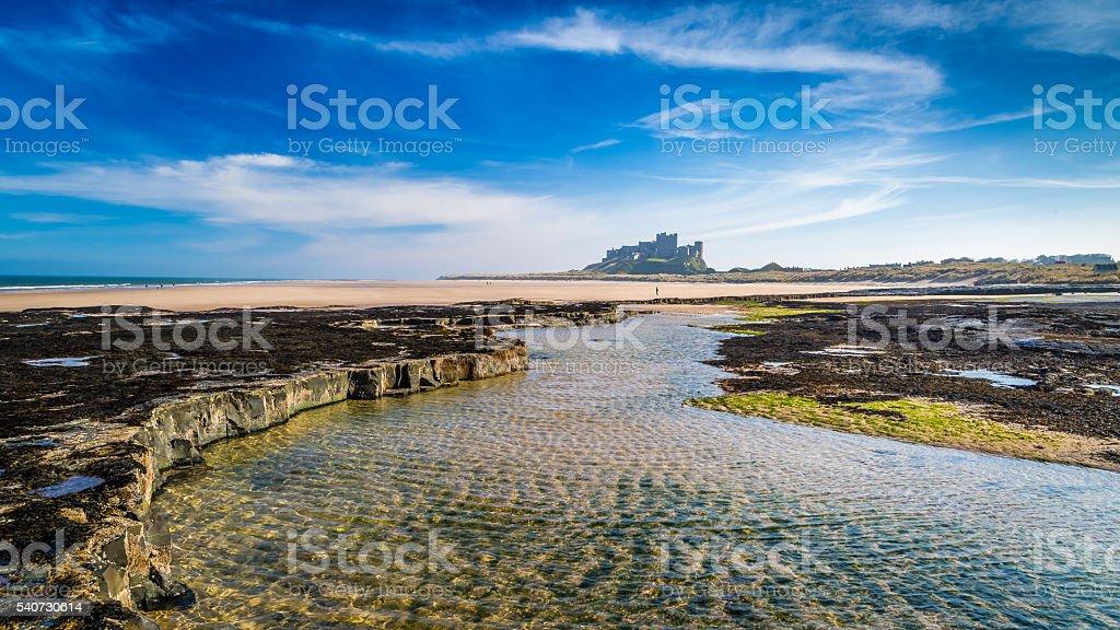 Bamburgh Castle on the Northumberland coast, England stock photo