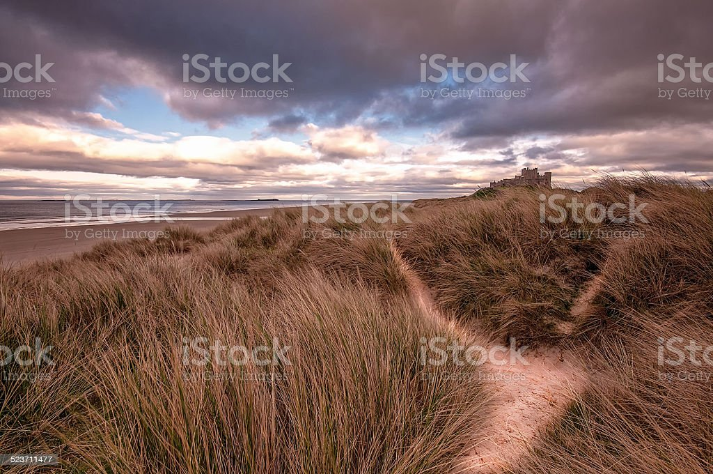 Bamburgh Castle Sand Dunes stock photo