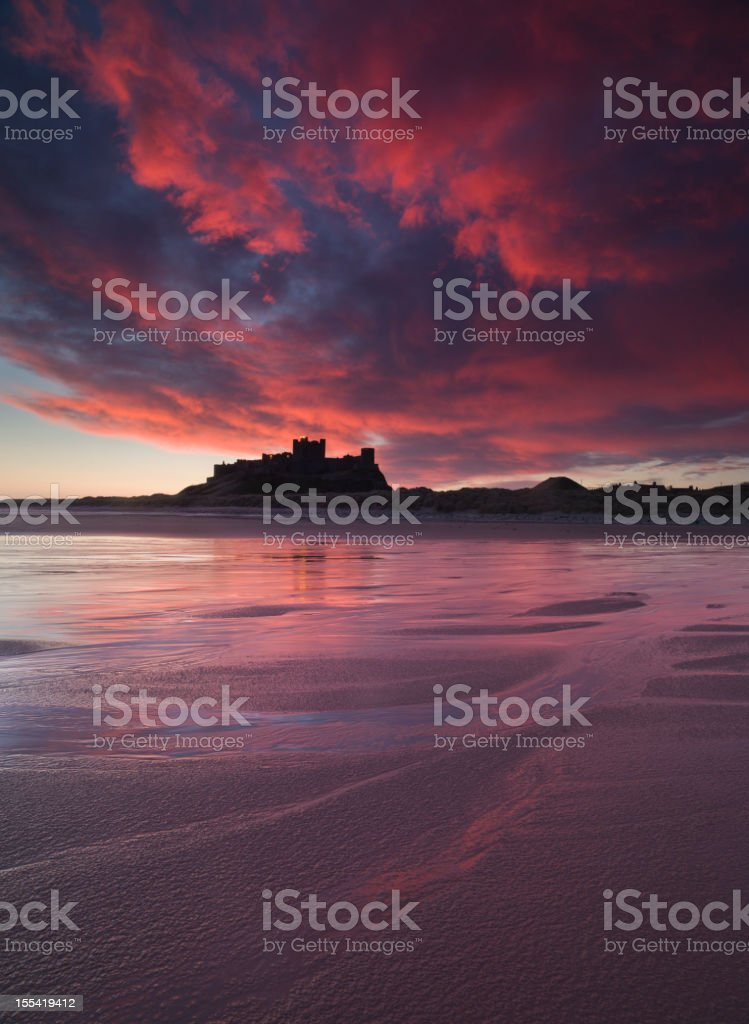 Bamburgh Castle Sunrise royalty-free stock photo