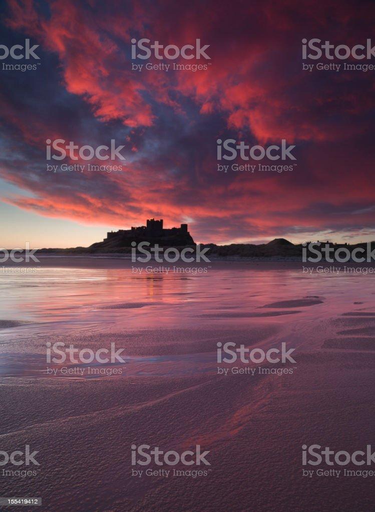 Bamburgh Castle Sunrise stock photo