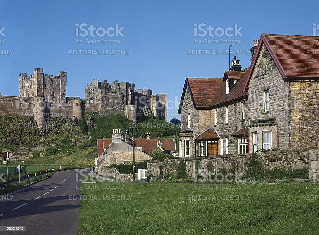 Bamburgh Village and Castle Northumberland, England royalty-free stock photo