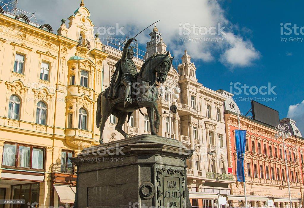 Ban Jelacic statue on Jelacic Square in Zagreb stock photo