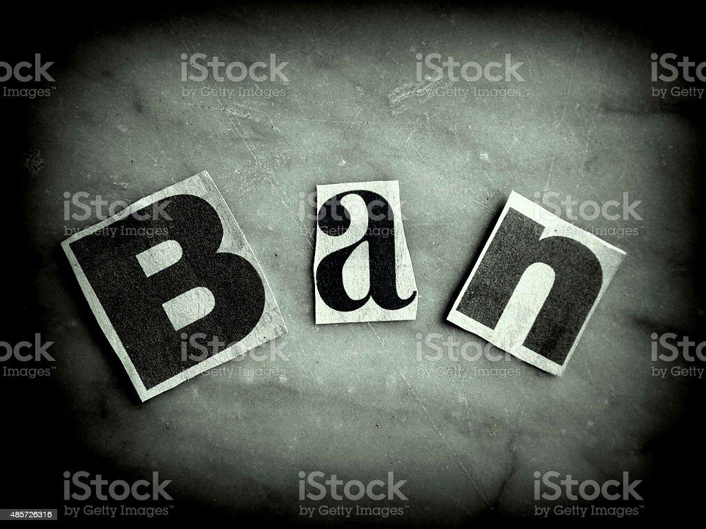 Ban Sign Grunge Style stock photo
