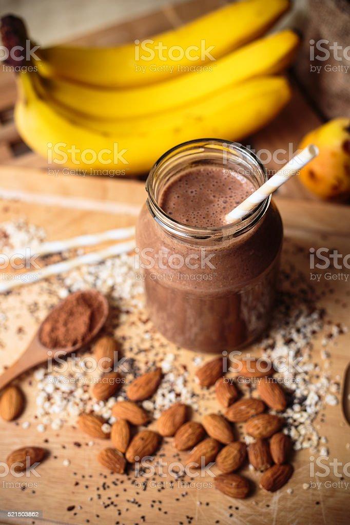 Banana almond oats smoothie stock photo