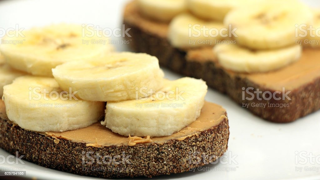 Banana and Almond Butter Toasts stock photo