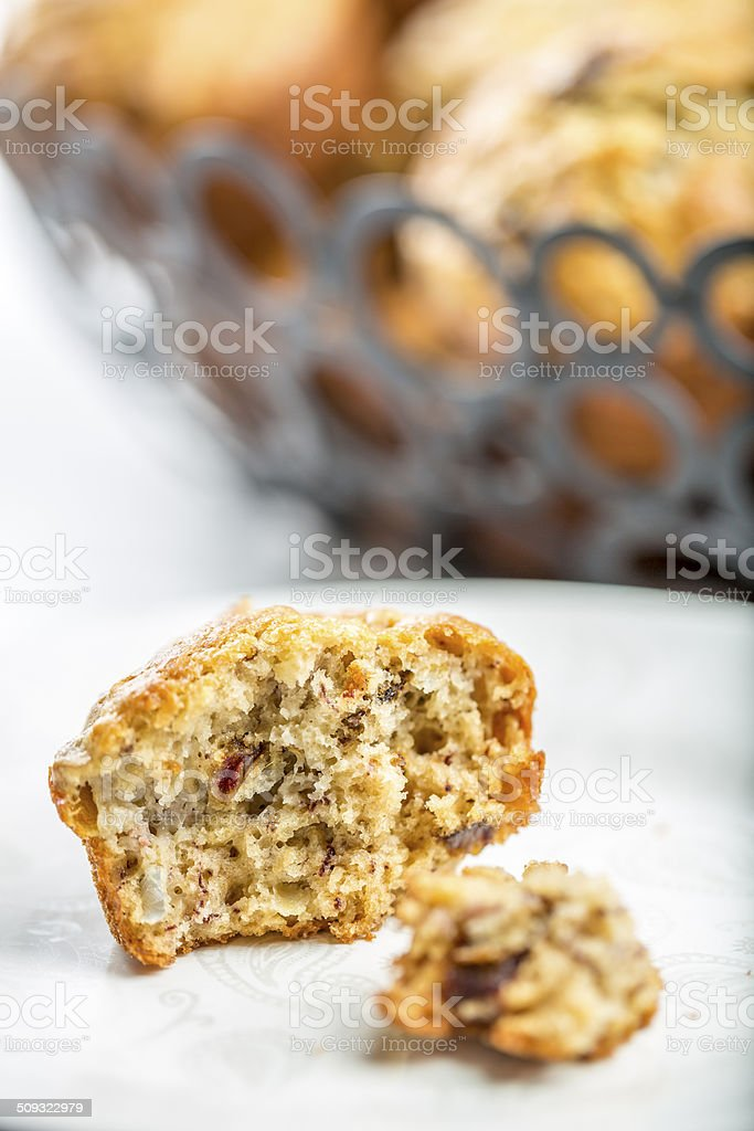Banana and dattes muffins stock photo