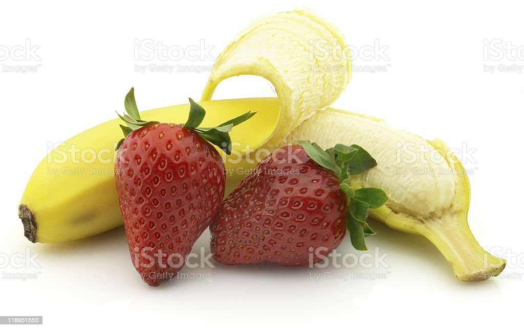 Banana and strawberry royalty-free stock photo