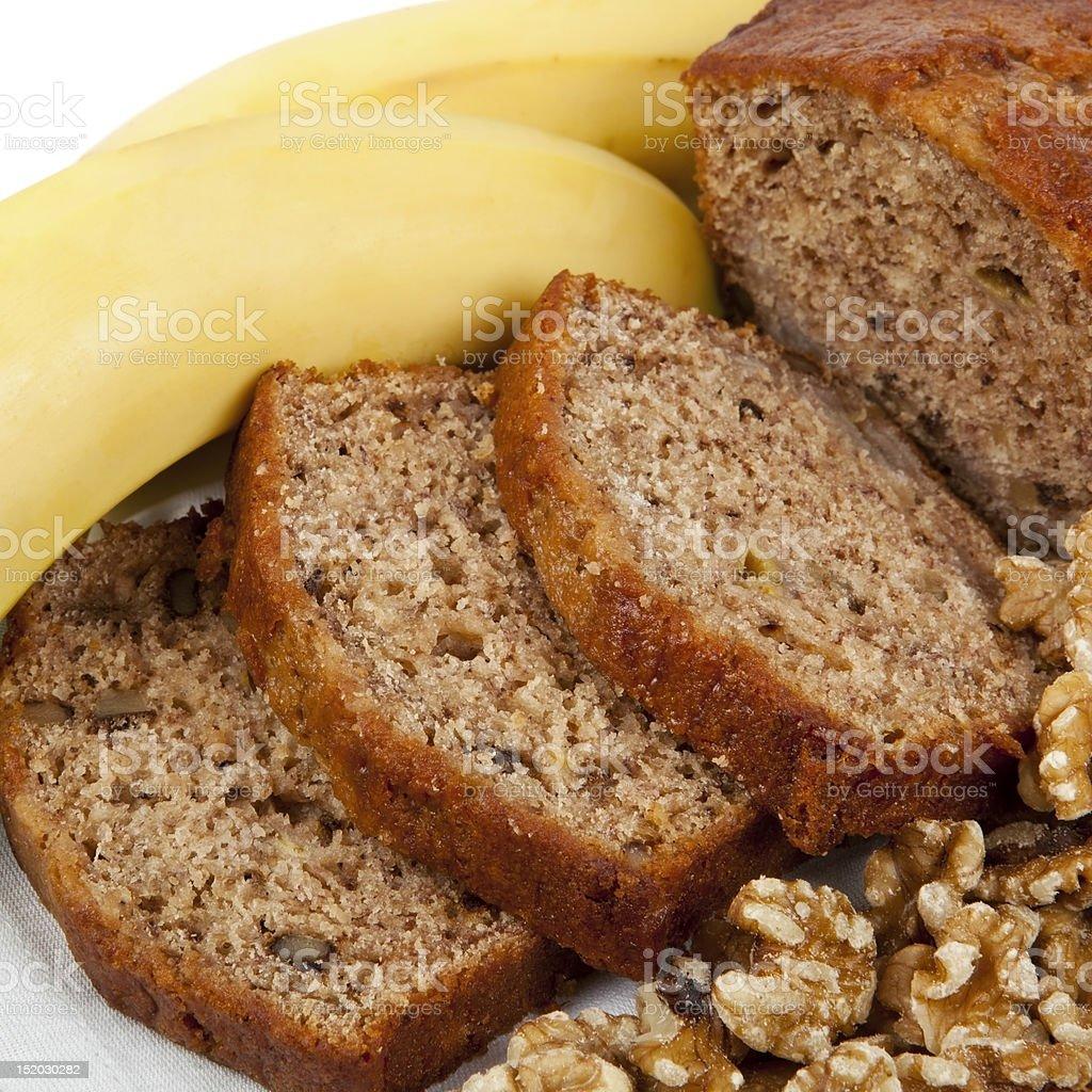 Banana and Walnut Bread stock photo
