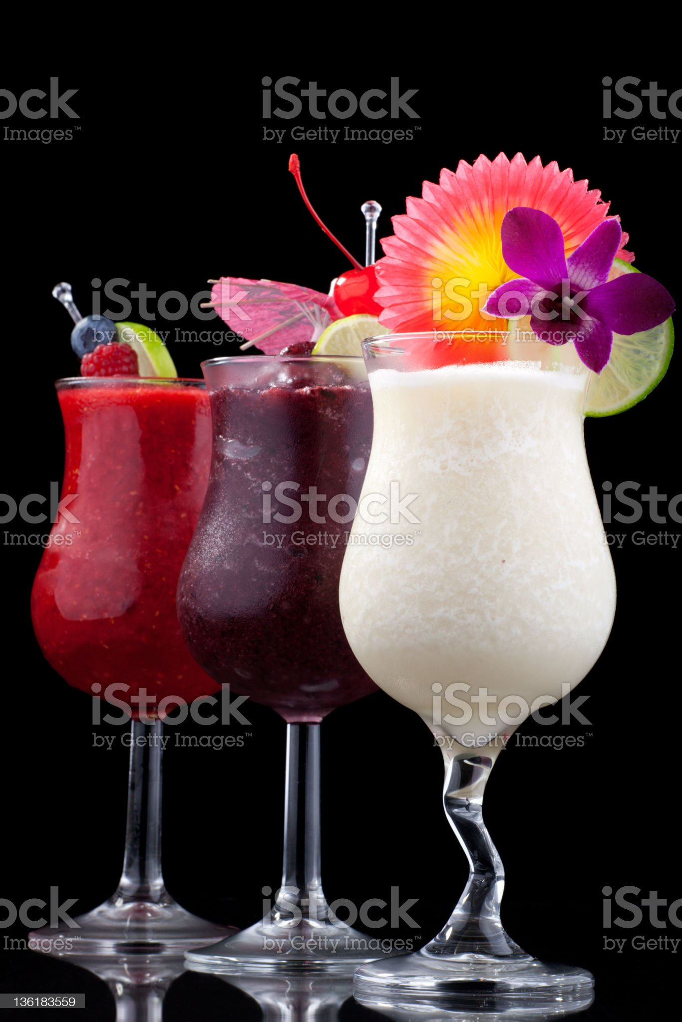 Banana, Blueberry and Raspberry Daiquiri - Most popular cocktails series royalty-free stock photo
