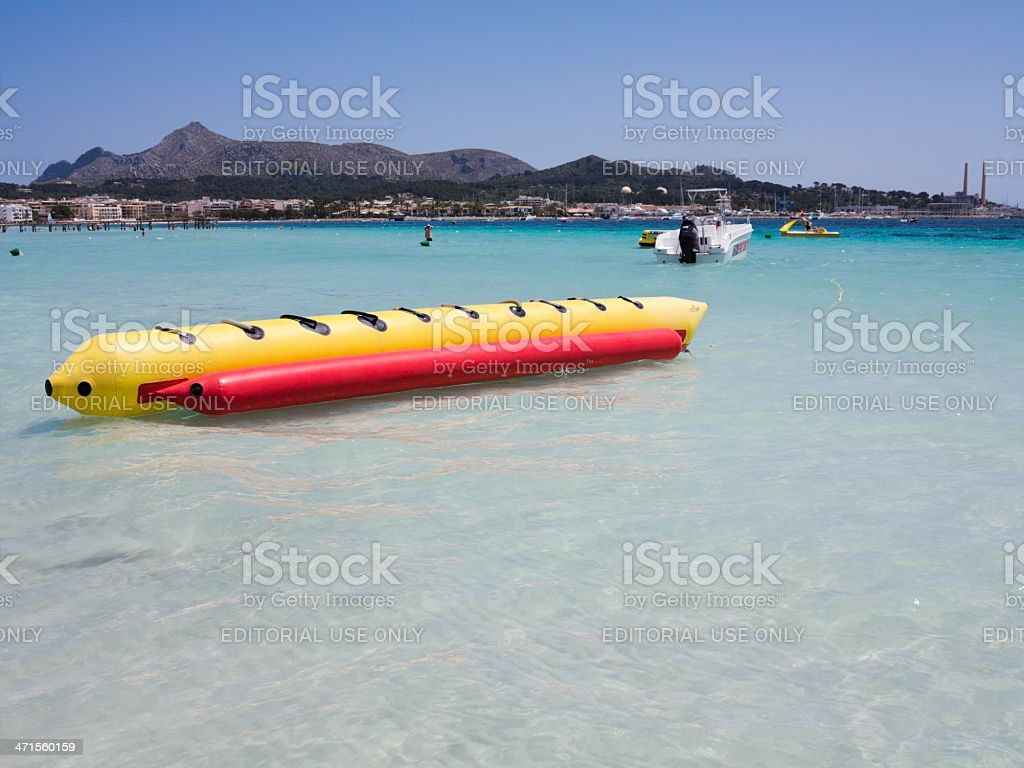 Banana boat and sand beach. royalty-free stock photo