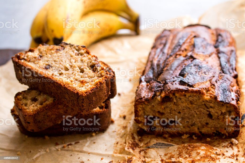 Homemade Banana Nut Bread stock photo