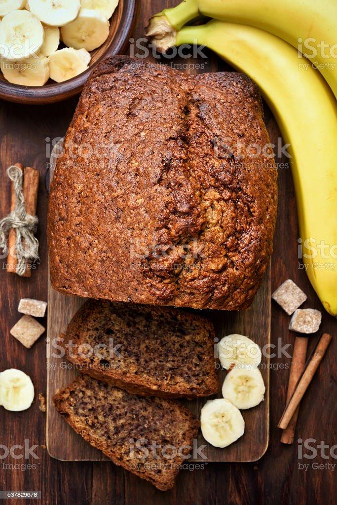 Banana bread, top view stock photo