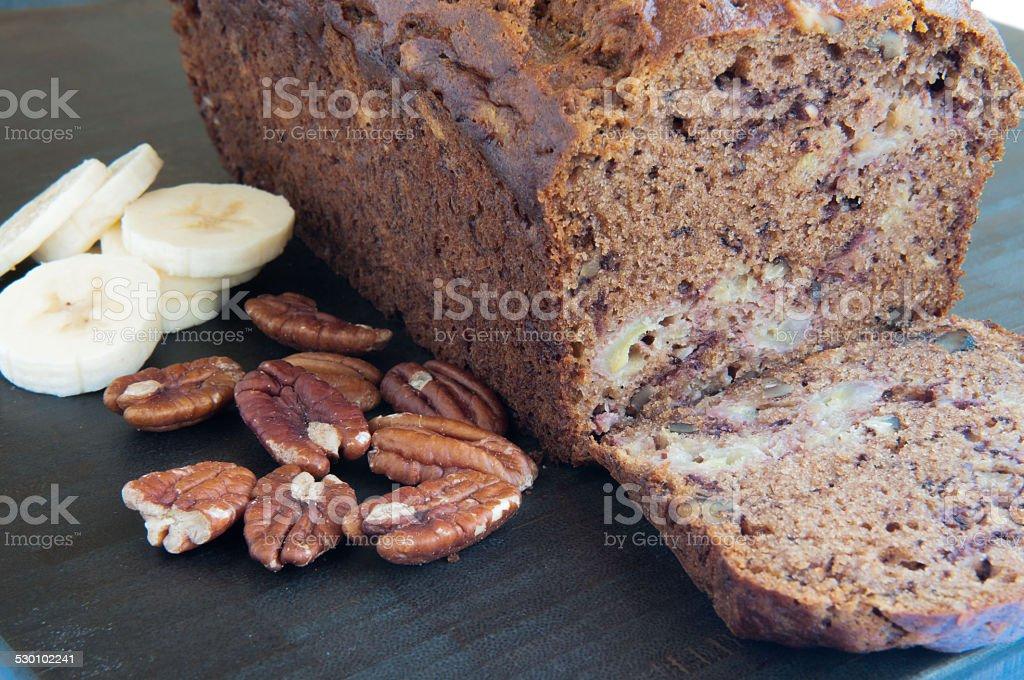 Banana Bread With Walnuts And Raisins stock photo