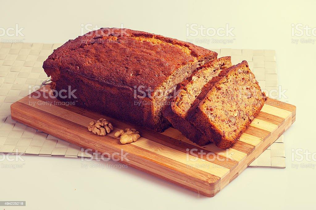 Banana bread with walnuts stock photo