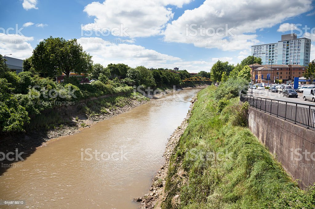Banana Bridge riverbank River Avon Bristol England sunny day stock photo