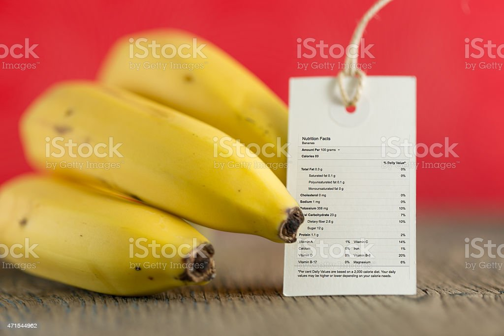 Banana Bunch with Nutrition Label stock photo