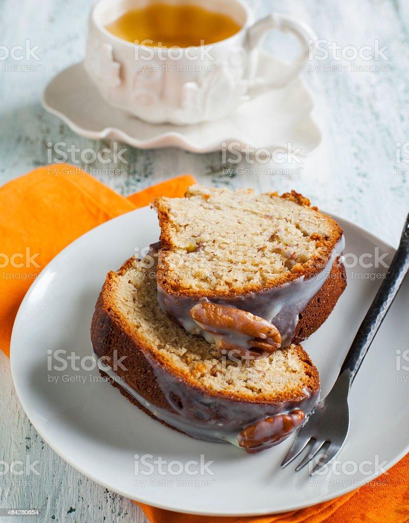 Banana Bundt Cake with pecans stock photo