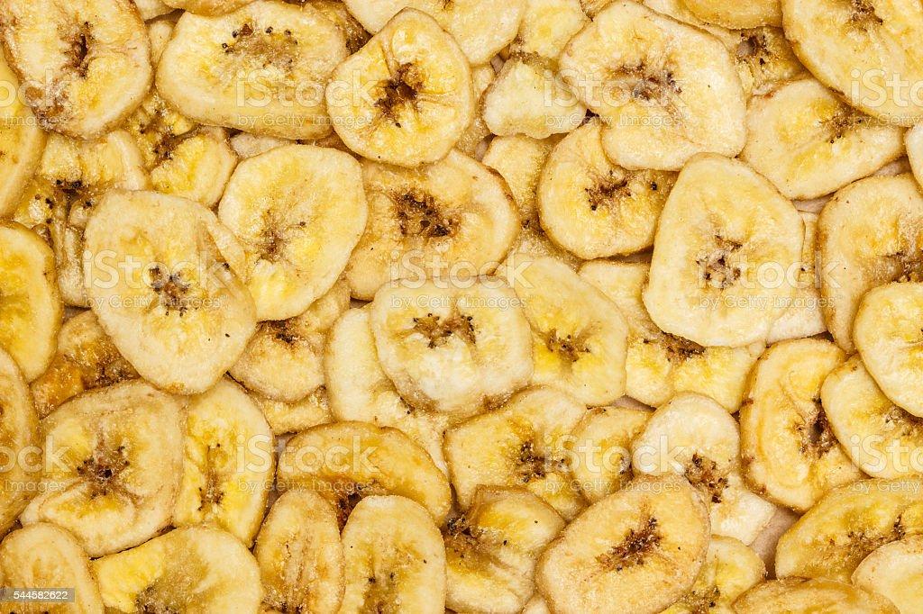 Banana chips for background stock photo